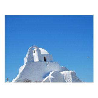 Picturesque Whitewashed Greek Church on Mykonos Postcard