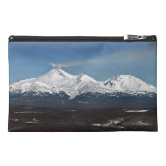 Picturesque winter panorama of Kamchatka volcanoes Travel Accessory Bags