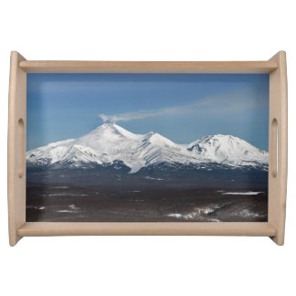 Picturesque winter view of Kamchatka volcanoes Serving Tray