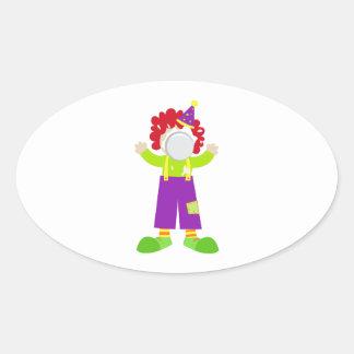 Pie Face Clown Oval Sticker