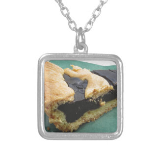 Piece of chocolate cake on green paper napkin silver plated necklace