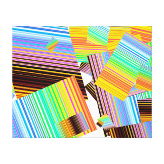 "Pieces of colored stripes on 20""x16"" canvas! stretched canvas print"