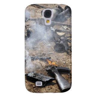 Pieces of enemy weapons lay out to cool off galaxy s4 case