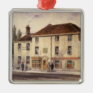 Pied Bull Public House, 1848 Silver-Colored Square Decoration