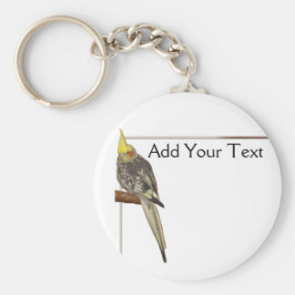 Pied Cockatiel on a Branch with White Key Ring