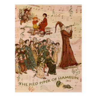 Pied Piper Collage Postcard