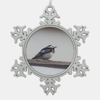 Pied Wagtail Snowflake Pewter Christmas Ornament