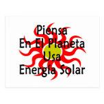 Piensa En El Planeta Usa Energia Solar Post Cards