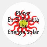 Piensa En El Planeta Usa Energia Solar Stickers