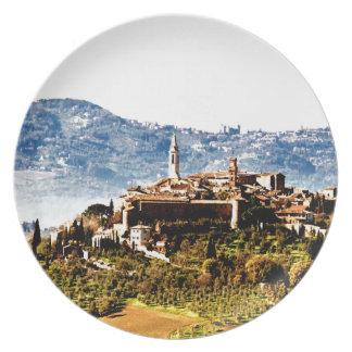 pienza montalcino mountain history dinner plate