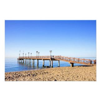 Pier and Beach by the Mediterranean Sea Photo Art