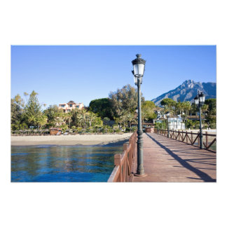 Pier and Beach in Marbella Photographic Print