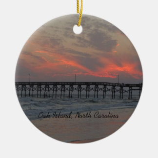 Pier and Sunset - Oak Island, NC Christmas Ornament