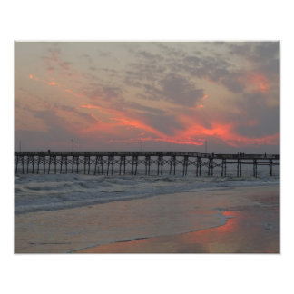 Pier and Sunset - Oak Island, NC Photograph
