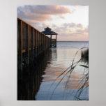 Pier & Gazebo at Sunset, Outer Banks NC Poster