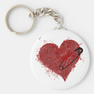 Pierced Heart Basic Round Button Key Ring