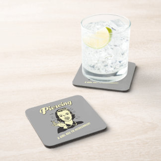 Piercing: A Girl Has to Accessorize Beverage Coaster