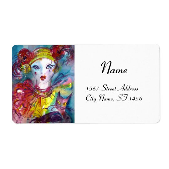 PIERO  WITH CAT  red pink purple yellow white Shipping Label