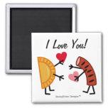 Pierogi & Kielbasa - I Love You! (customisable) Square Magnet