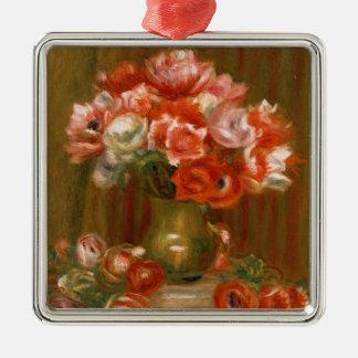 Pierre A Renoir | Anemones Silver-Colored Square Decoration