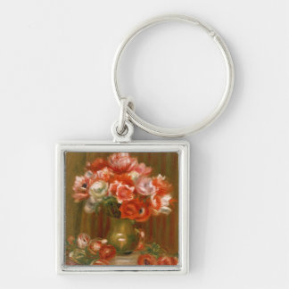 Pierre A Renoir | Anemones Silver-Colored Square Key Ring