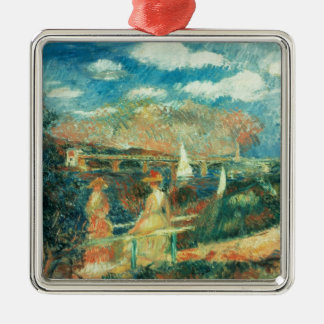 Pierre A Renoir | Banks of the Seine at Argenteuil Silver-Colored Square Decoration