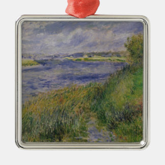 Pierre A Renoir | Banks of the Seine, Champrosay Silver-Colored Square Decoration