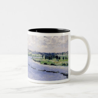 Pierre A Renoir | Barges on the Seine Two-Tone Coffee Mug