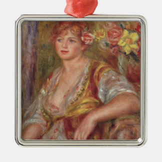 Pierre A Renoir | Blonde Woman with a Rose Silver-Colored Square Decoration