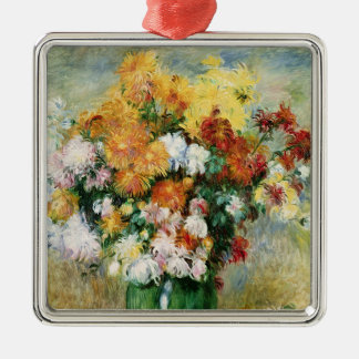 Pierre A Renoir | Bouquet of Chrysanthemums Silver-Colored Square Decoration