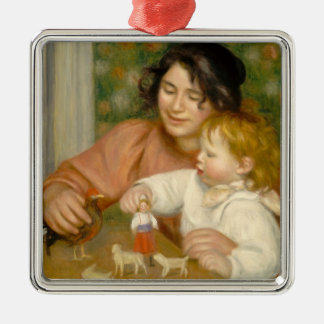 Pierre A Renoir | Child with Toys Silver-Colored Square Decoration