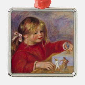 Pierre A Renoir | Claude Renoir at Play Silver-Colored Square Decoration