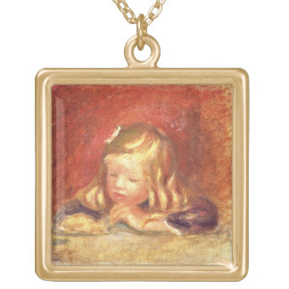 Pierre A Renoir   Coco at the Table  Gold Plated Necklace