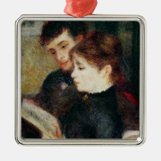 Pierre A Renoir | Couple Reading Silver-Colored Square Decoration