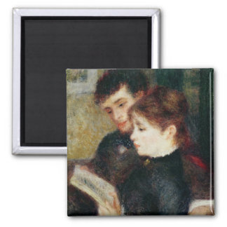 Pierre A Renoir | Couple Reading Square Magnet