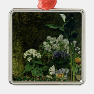 Pierre A Renoir | Flowers in a Greenhouse Silver-Colored Square Decoration