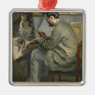 Pierre A Renoir | Frederic Bazille at his Easel Silver-Colored Square Decoration