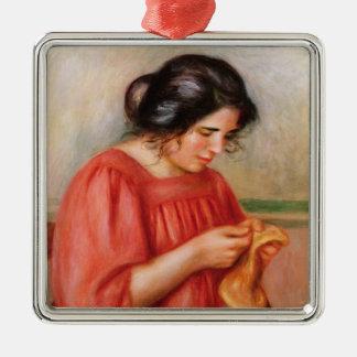 Pierre A Renoir | Gabrielle darning Silver-Colored Square Decoration