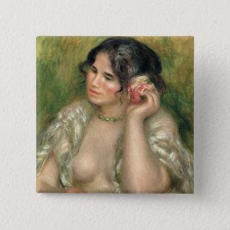 Pierre A Renoir | Gabrielle with a Rose 15 Cm Square Badge