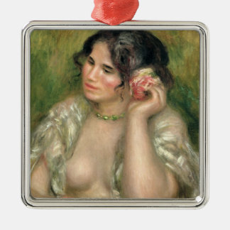 Pierre A Renoir | Gabrielle with a Rose Silver-Colored Square Decoration