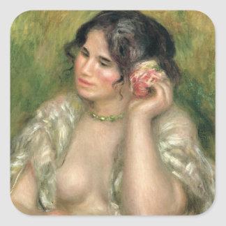 Pierre A Renoir | Gabrielle with a Rose Square Sticker