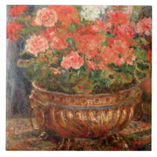 Pierre A Renoir | Geraniums in a Copper Basin Large Square Tile