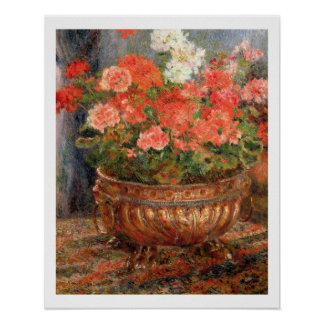 Pierre A Renoir | Geraniums in a Copper Basin Poster