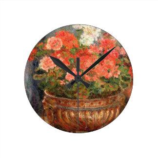 Pierre A Renoir   Geraniums in a Copper Basin Round Clock
