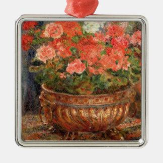 Pierre A Renoir | Geraniums in a Copper Basin Silver-Colored Square Decoration