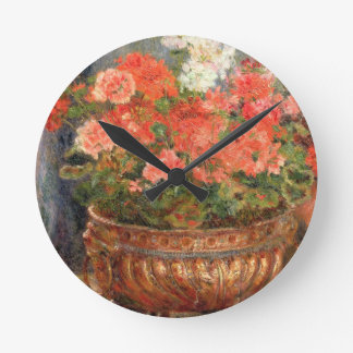 Pierre A Renoir | Geraniums in a Copper Basin Wall Clock