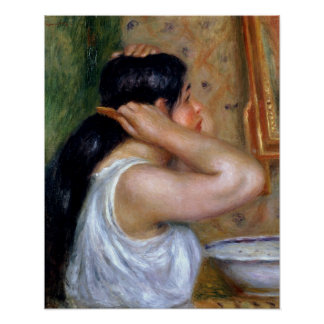 Pierre A Renoir | Girl Combing her Hair Poster