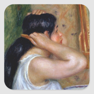 Pierre A Renoir | Girl Combing her Hair Square Sticker