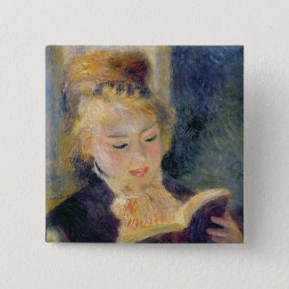Pierre A Renoir | Girl Reading 15 Cm Square Badge