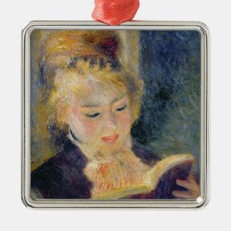 Pierre A Renoir | Girl Reading Silver-Colored Square Decoration